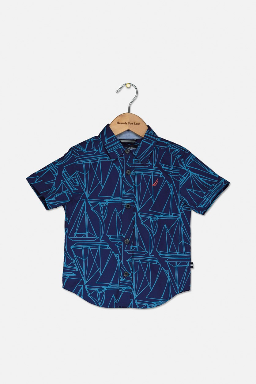 Toddlers Poplin Boat Graphic Shirt, Tanzante