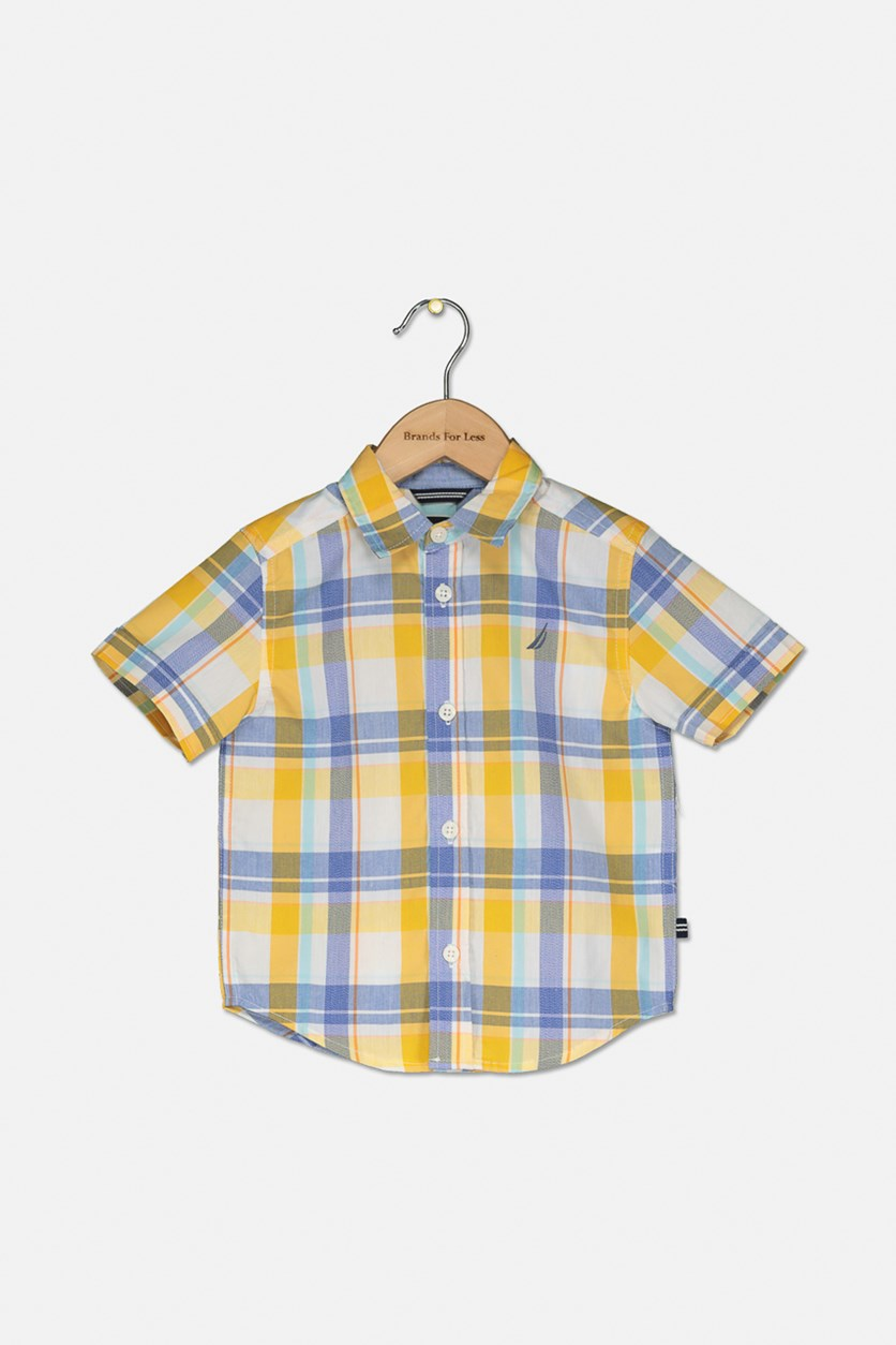 Toddlers Short Sleeve Plaid Shirt, Gold