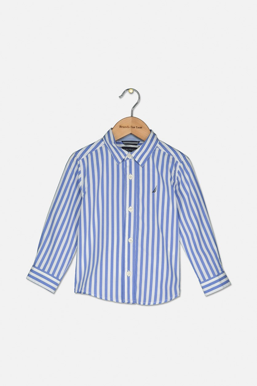 Toddlers Long Sleeve Stripe Shirt, Blue