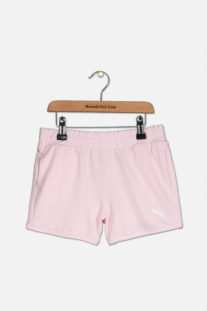 Kids Girls French Terry Puma Shorts, Light Pink