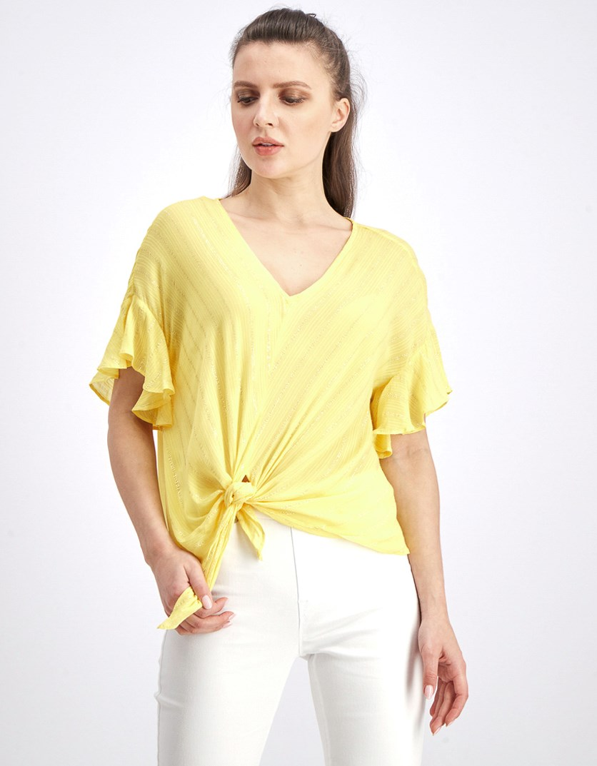 Women's Ruffled Sleeve Blouse, Yellow