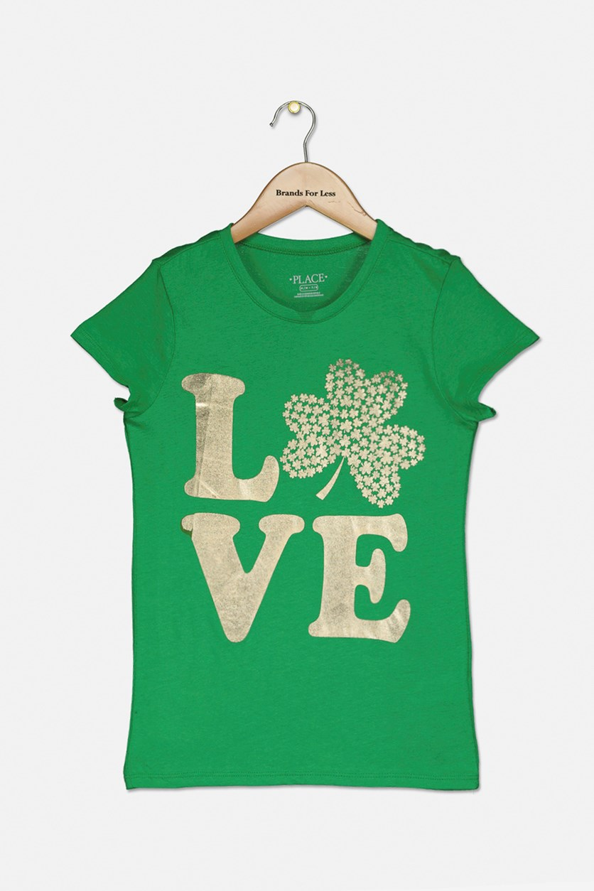 Girl's Love Metallic Graphic Top, Greenacres