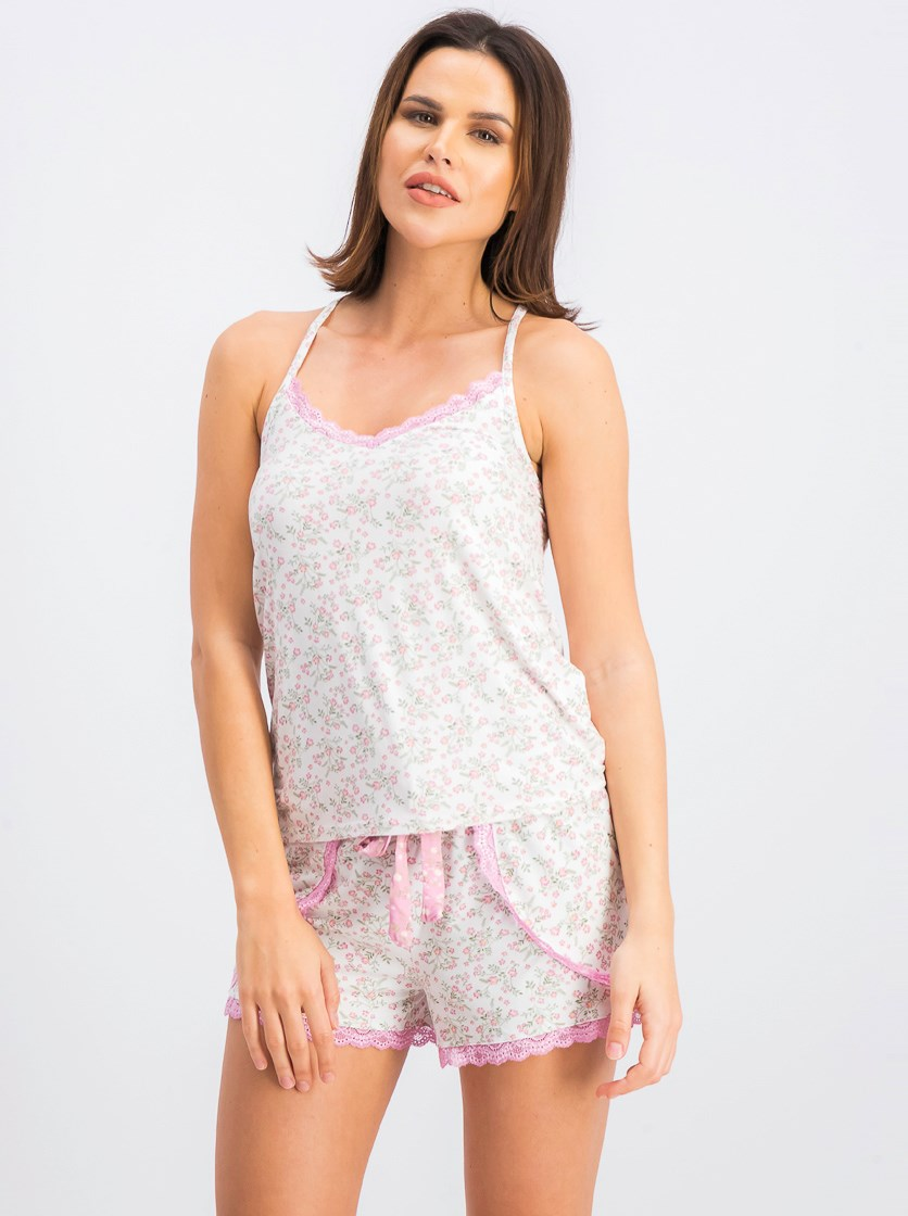 Women's Tank Top and Shorts Sleepwear Set, Pink Combo