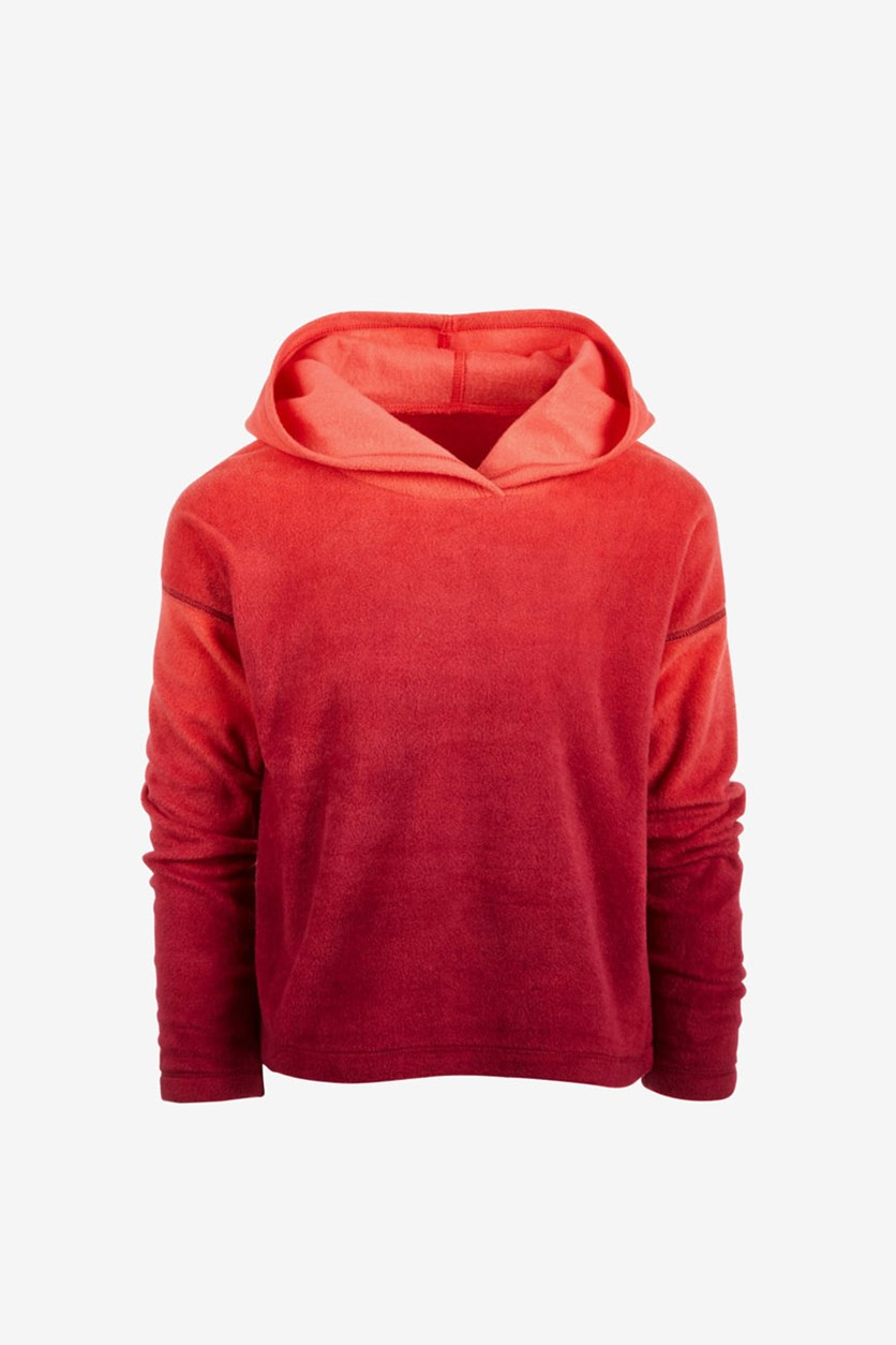 Big Girls Ombre Fleece Hoodie,Orange/Red