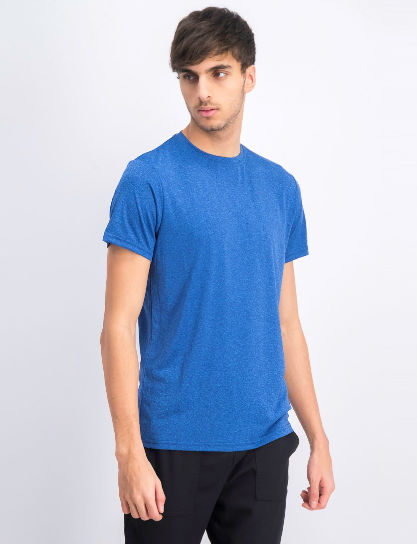 Men's Short Sleeve Crew Neck T-shirts, Melange-Royal Blue
