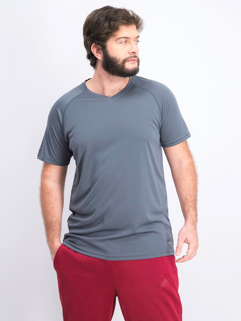Men's V-neck Plain T-shirts, Grey