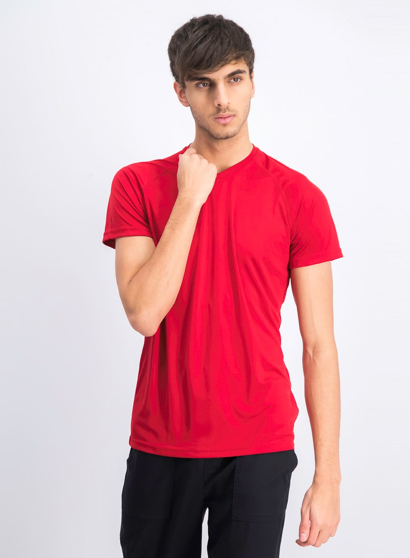 Men's V-neck Plain T-shirt, Red