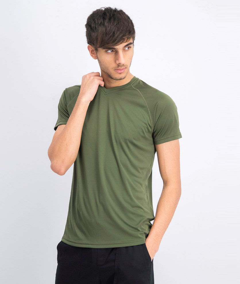 Men's Short Sleeve V-neck T-shirts, Army Green