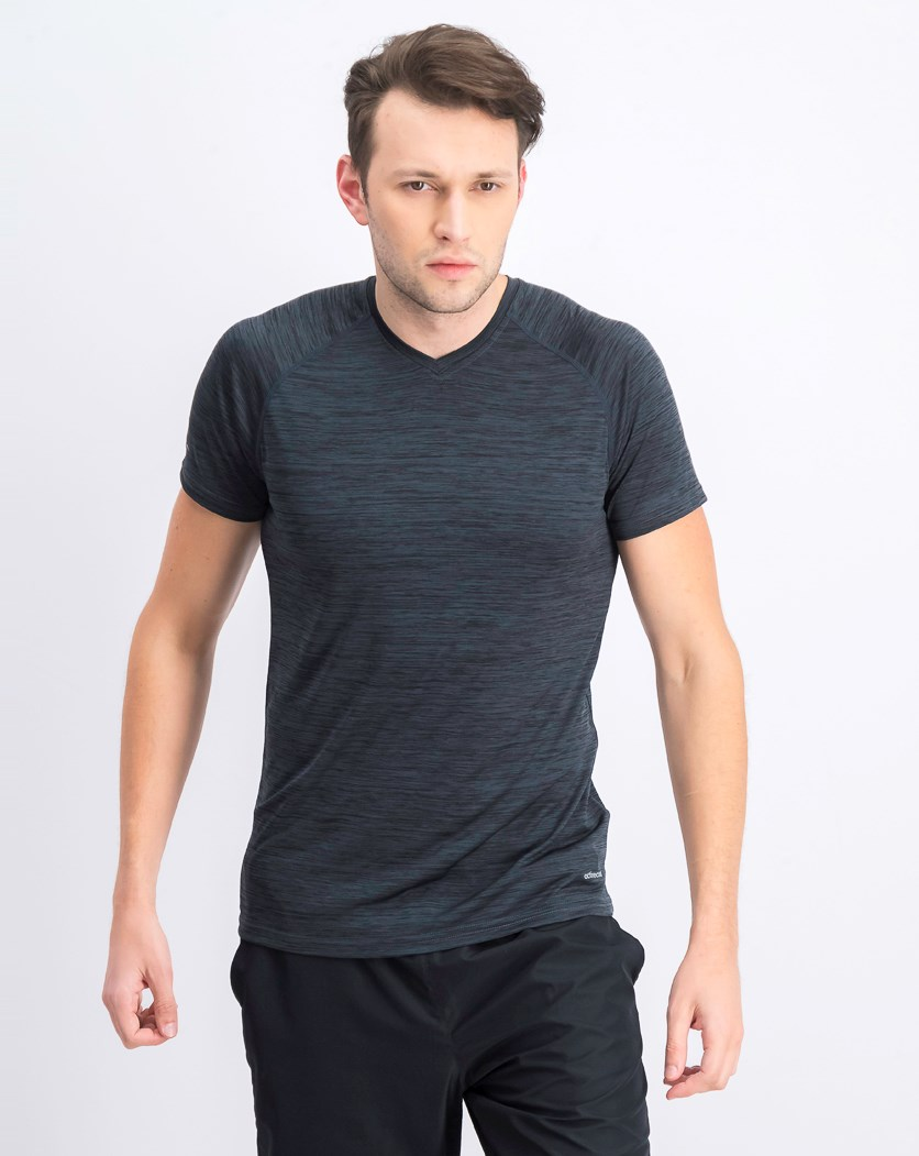 Men's Short Sleeve V-neck T-short, Melange-Grey/Black