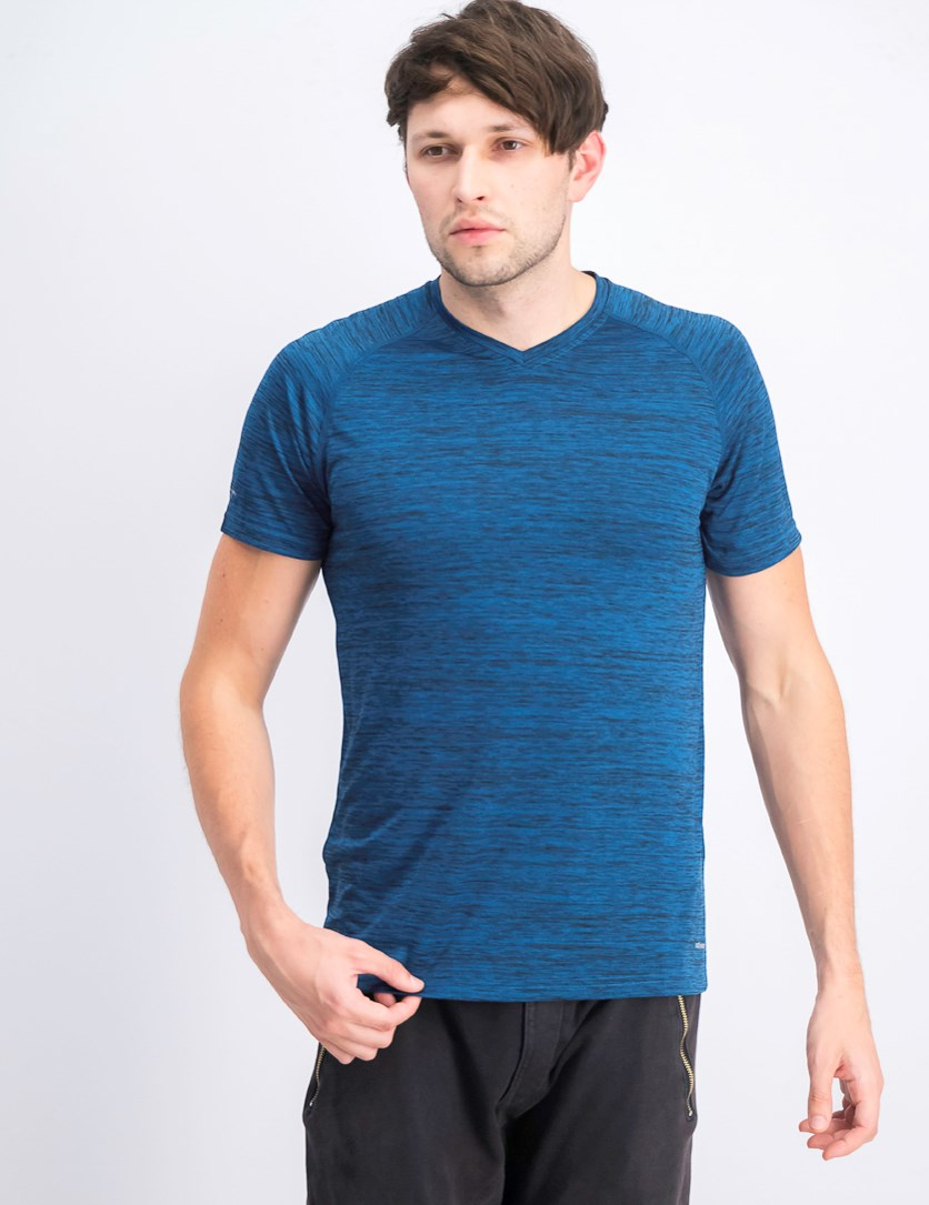 Men's V-neck Shorts Sleeve T-shirts, Melange-Indigo/Blue
