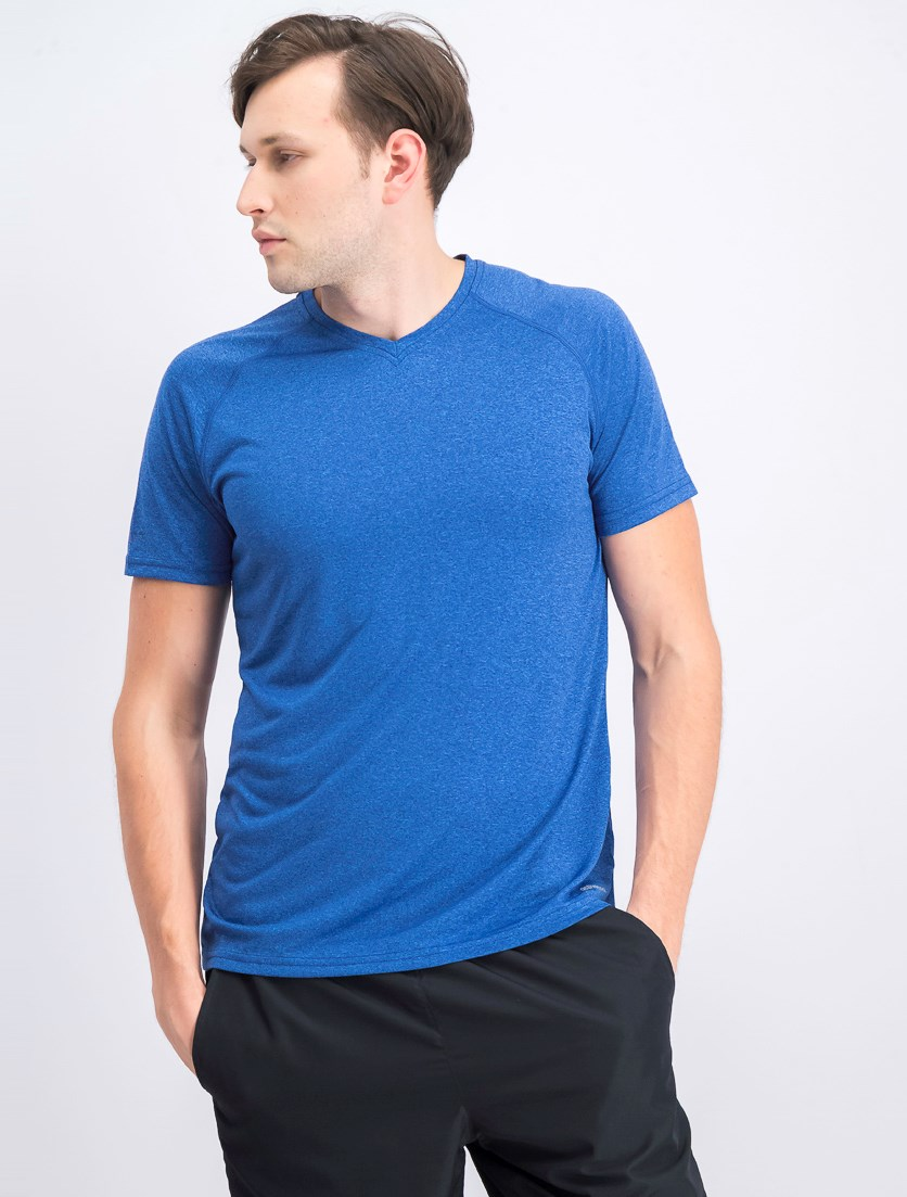 Men's Short Sleeve V-neck T-shirt, Melange Royal Blue