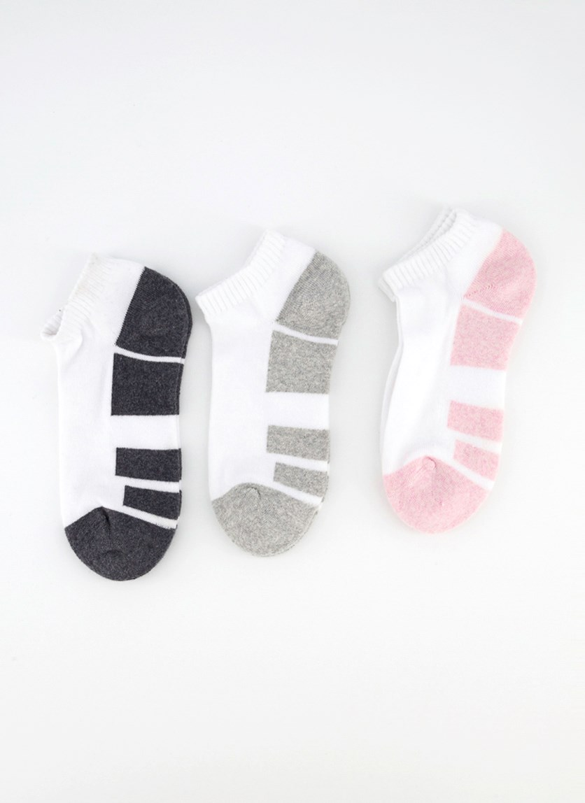 Ladies 3 Pairs Ankle Sports Socks, Charcoal/Grey/Pink