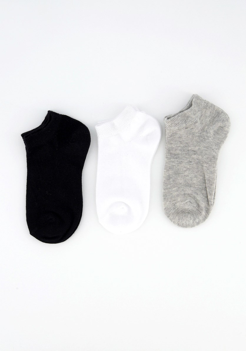 Boy's 3 Pairs Ankles Socks, Grey/White/Black
