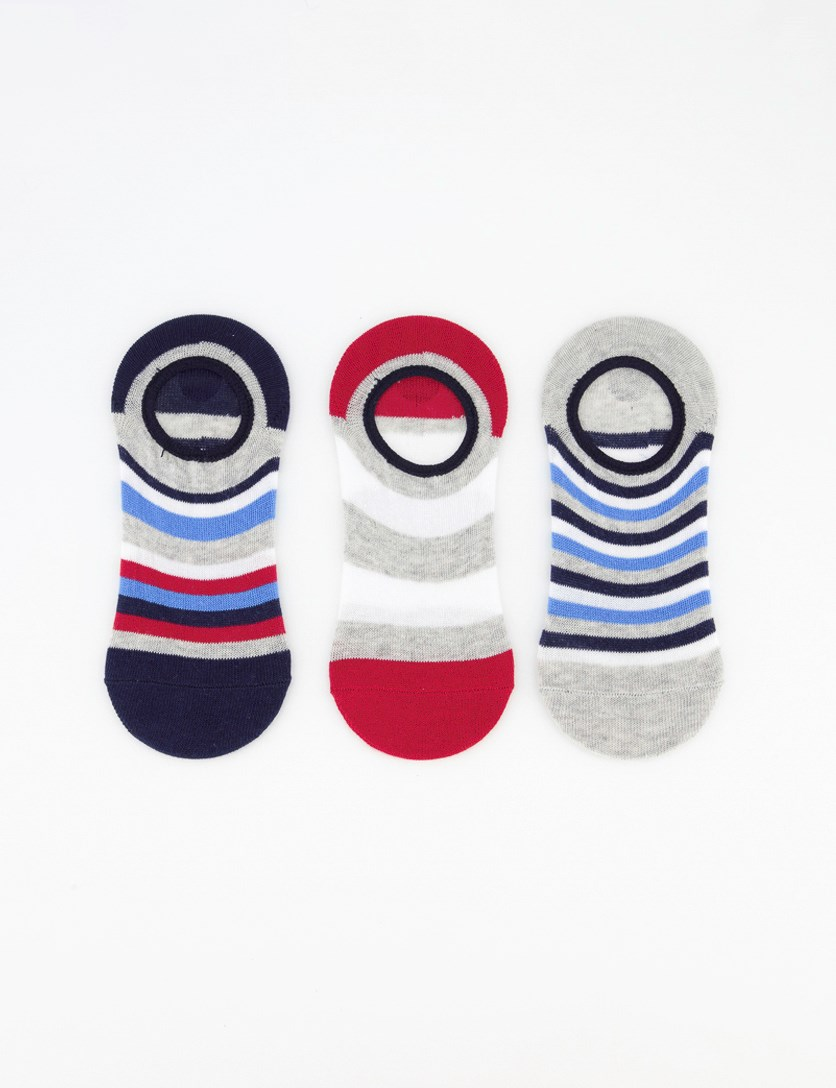 Boy's 3 Pack Round Invisible Sock, Navy Combo