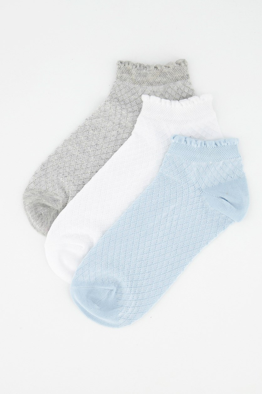 Women's Ankle Sport Sock 3 Pair, Grey/White/Light Blue
