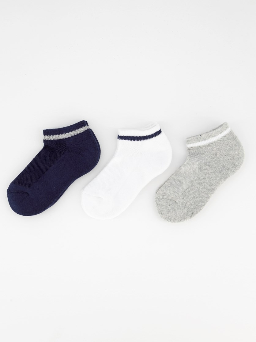 Kids Girl's 3 Pairs Ankle Sport Socks, Navy/Grey/White