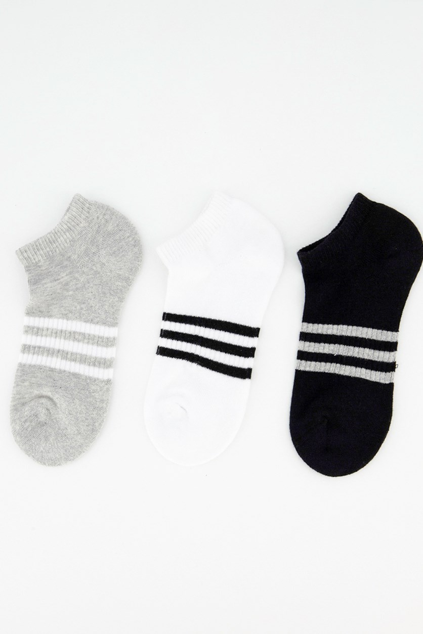 Women's Ankle Sport 3 Pairs Socks, Black/White/Grey