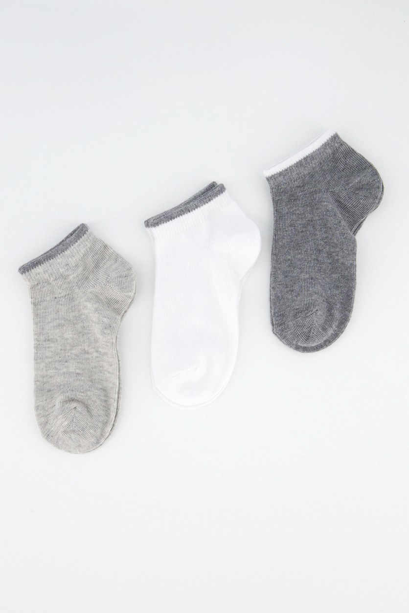 Little Kids Boys Ankle Set Of 3 Socks, Dark Gray/White/light Gray Heather