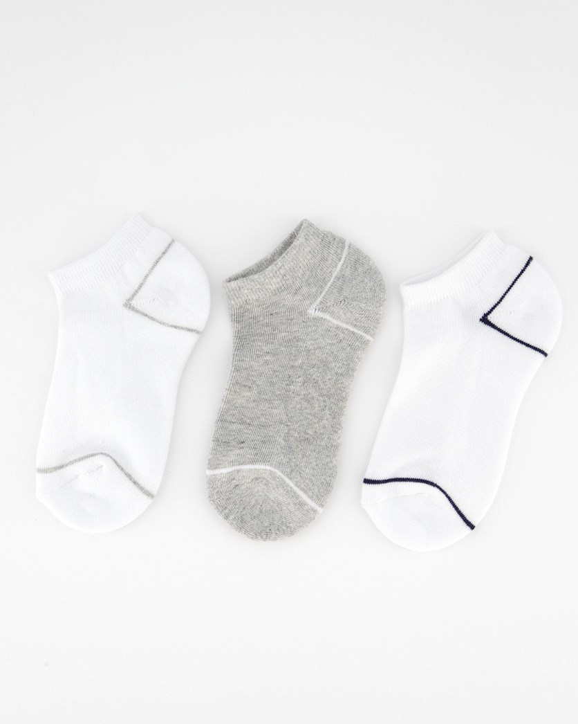Little Kids Boys Ankle Set Of 3 Socks, White/Light Gray