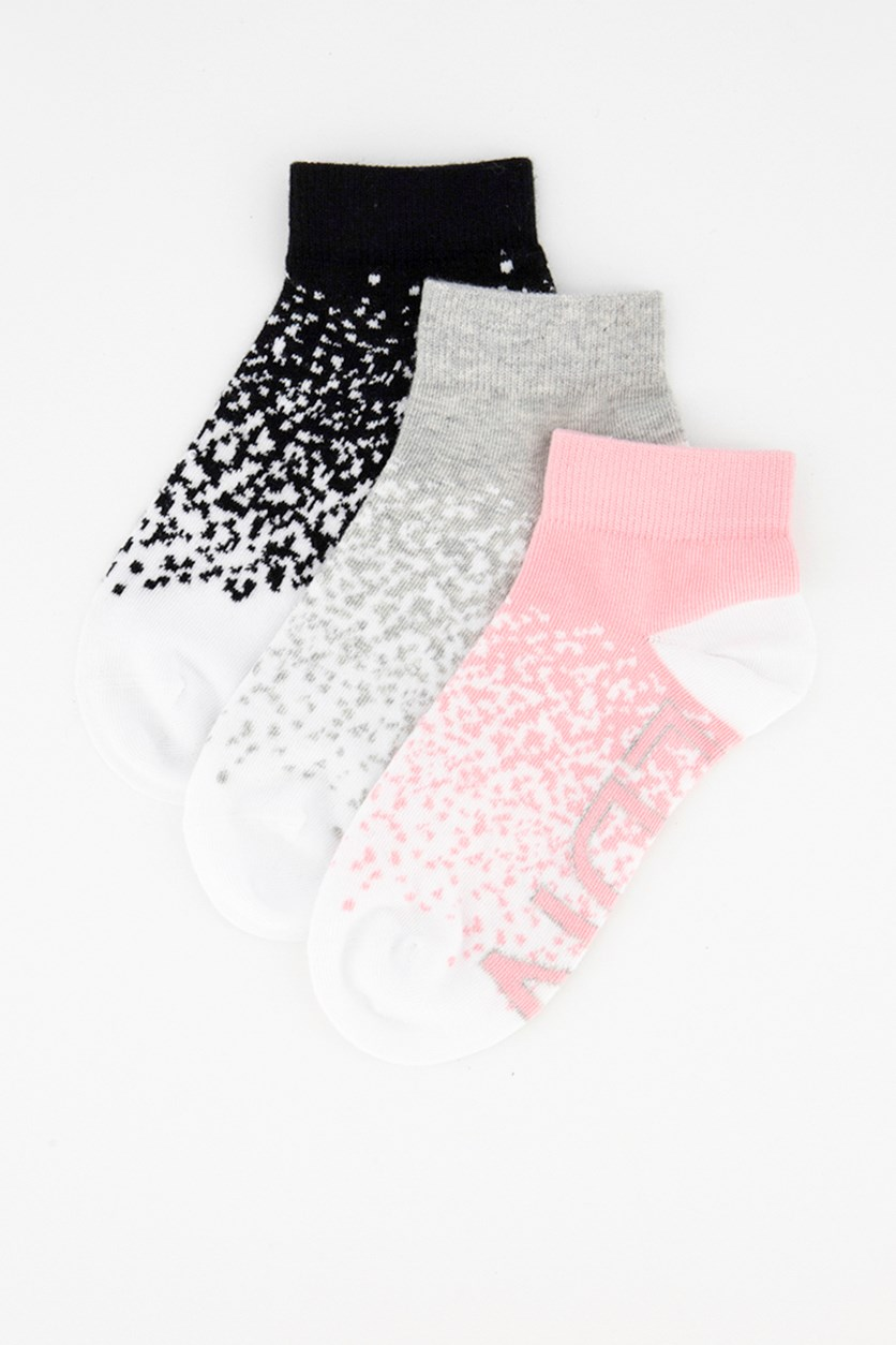 Women's Round Invisible Terry Sock 3 Pair, Pink/White