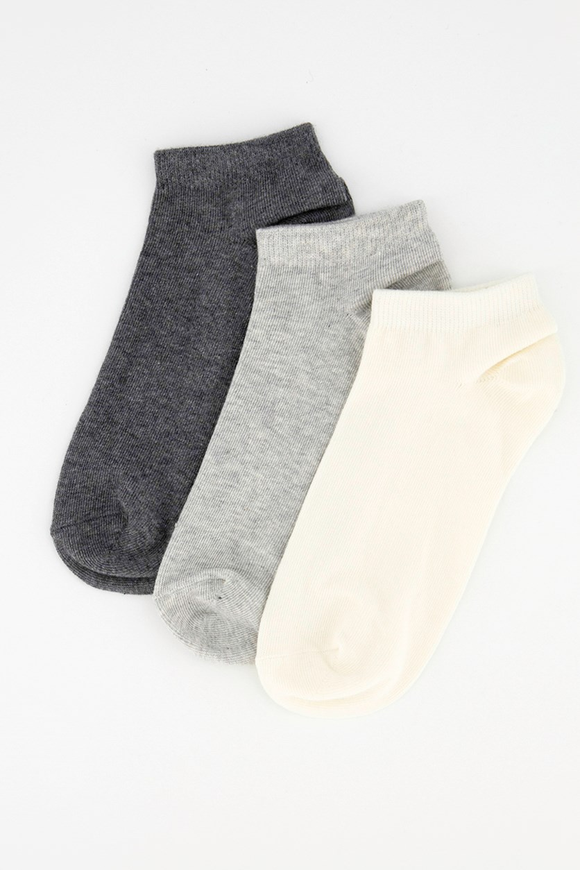 Women's 3 Pairs Ankle Socks, Cream/Grey/Charcoal
