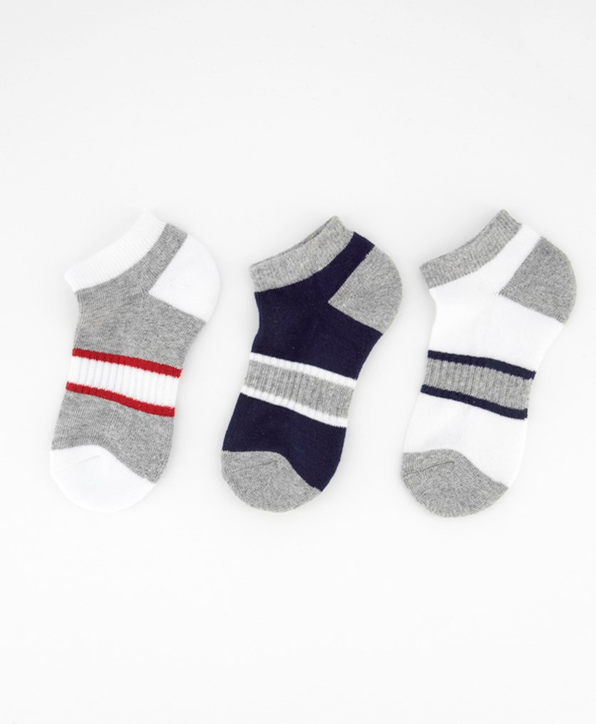 Kids Boy's 3 Pairs Striped Ankle Sport Socks, Grey Combo