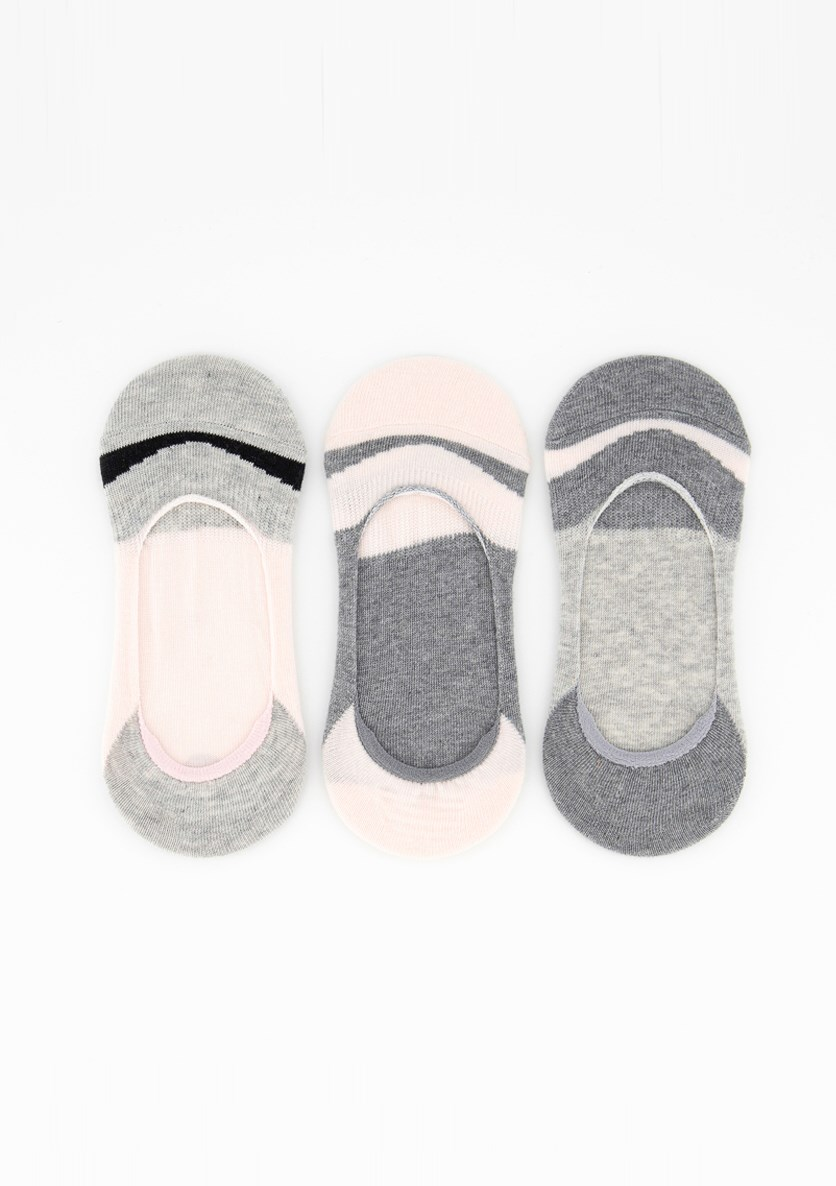 Women's 3 Pieces Invisible Socks, Peach/Grey