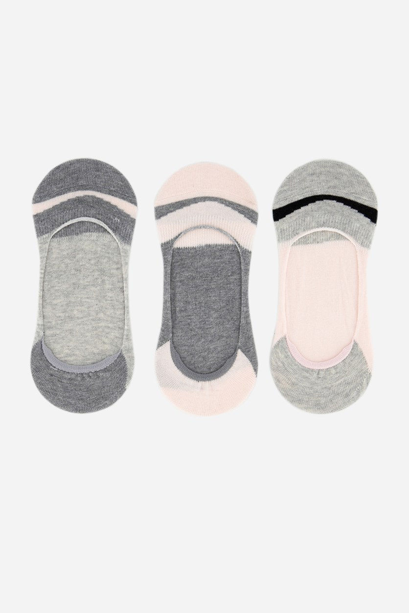 Women's 3 Pck Invisible Socks, Pink/Grey Combo