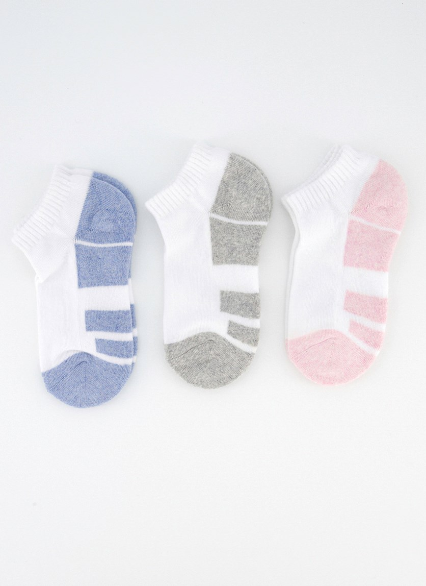 Girl's 3 Pairs Ankle Sport Socks, White Combo