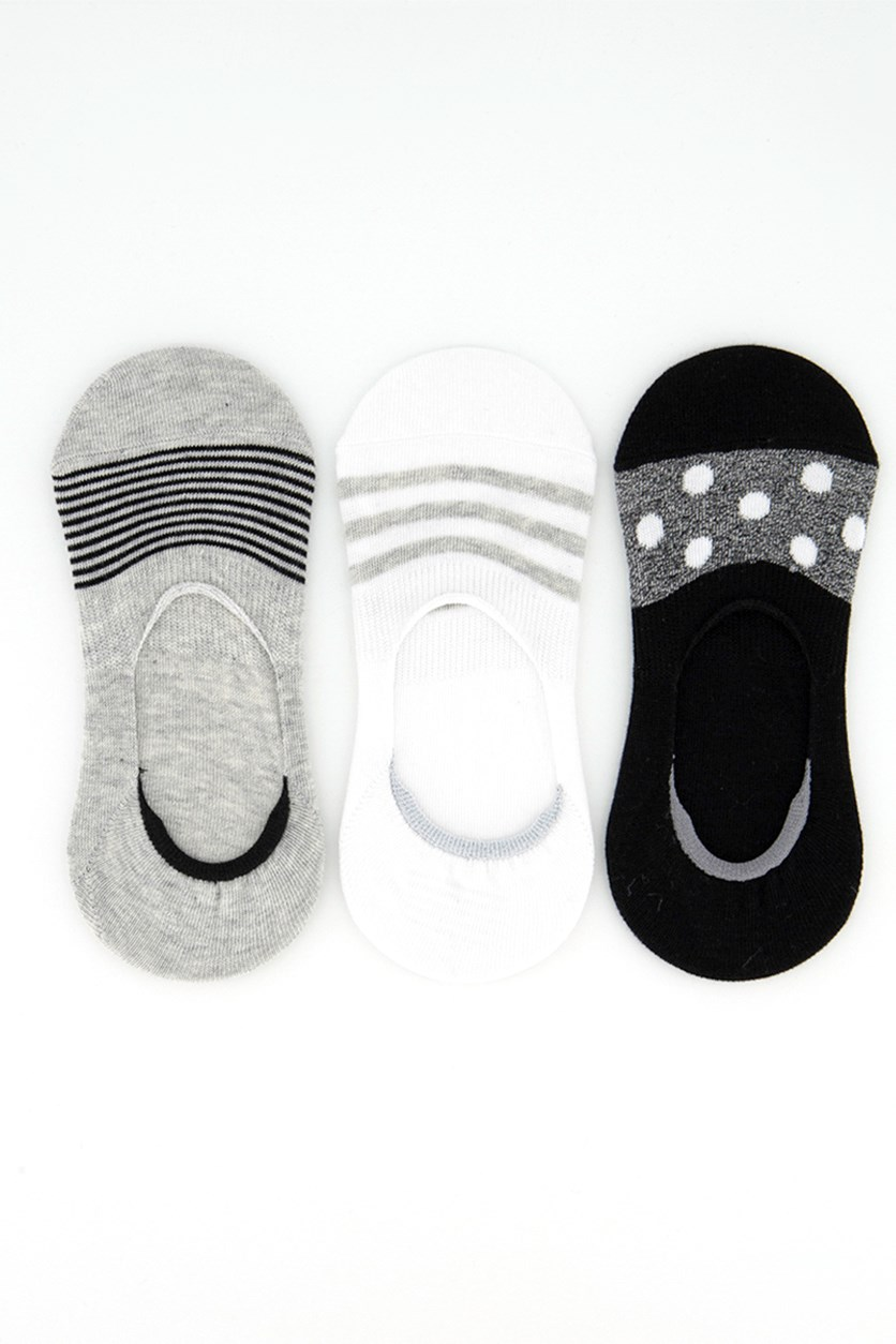 Women's Invisible 3 Pairs Socks, Black/Grey/White