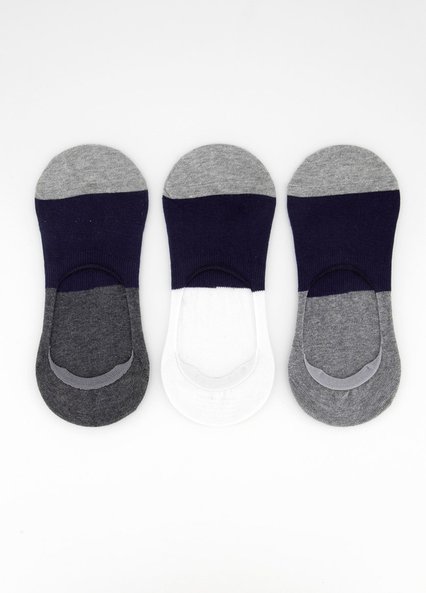 Men's 3 Pairs Invisible Socks, Grey/Navy Blue