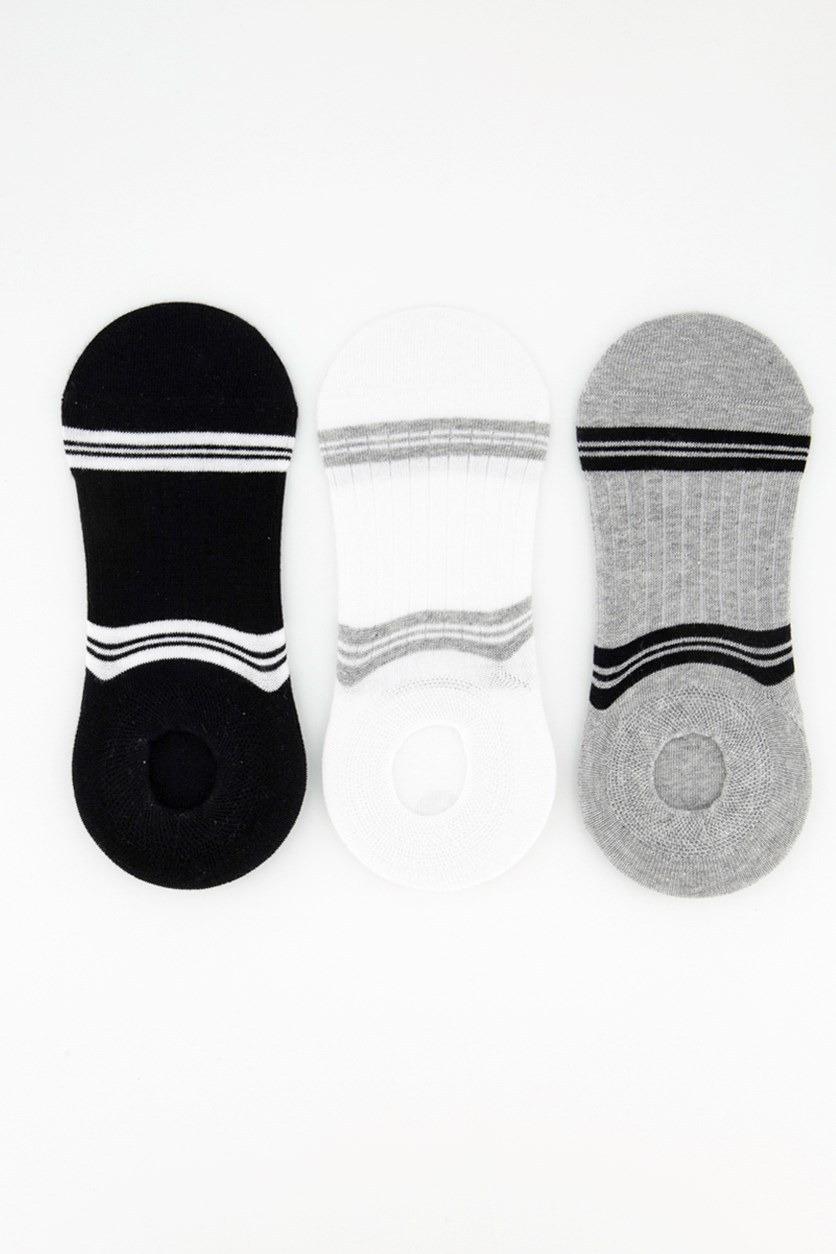 Men's 3 Pairs Invisible Stripe Socks, Black/White/Grey