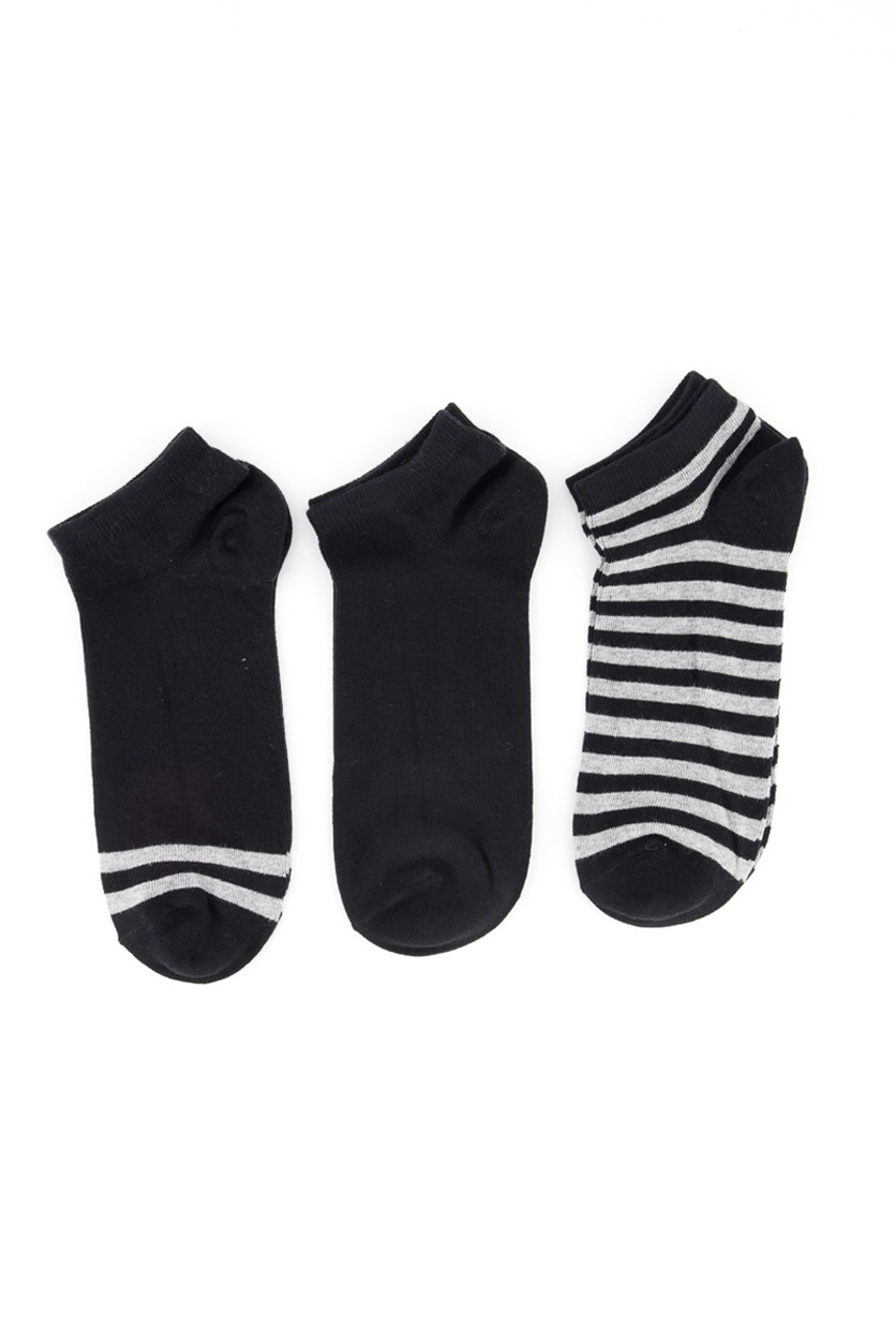 Men's 3 Pairs Stripe Ankle Socks, Black/Grey