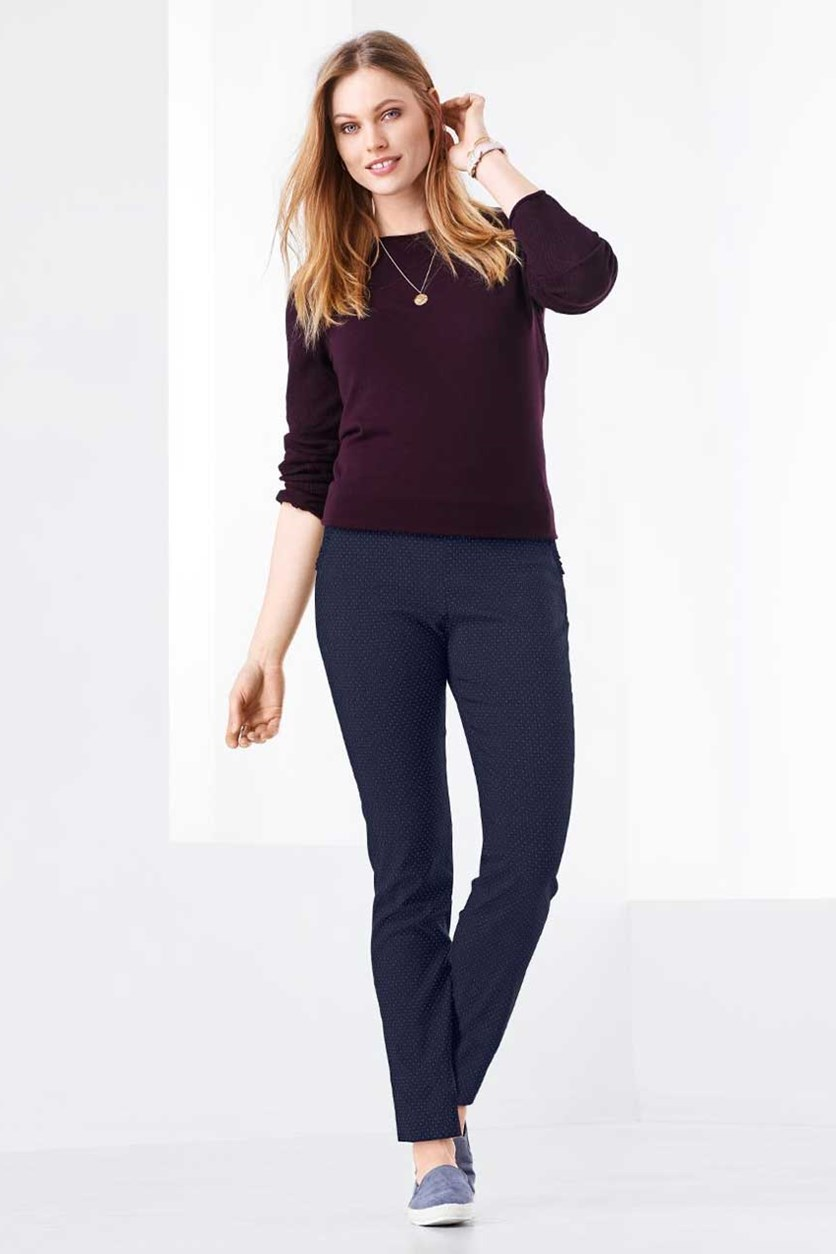 Women's Ankle Length Stretch Pants, Navy