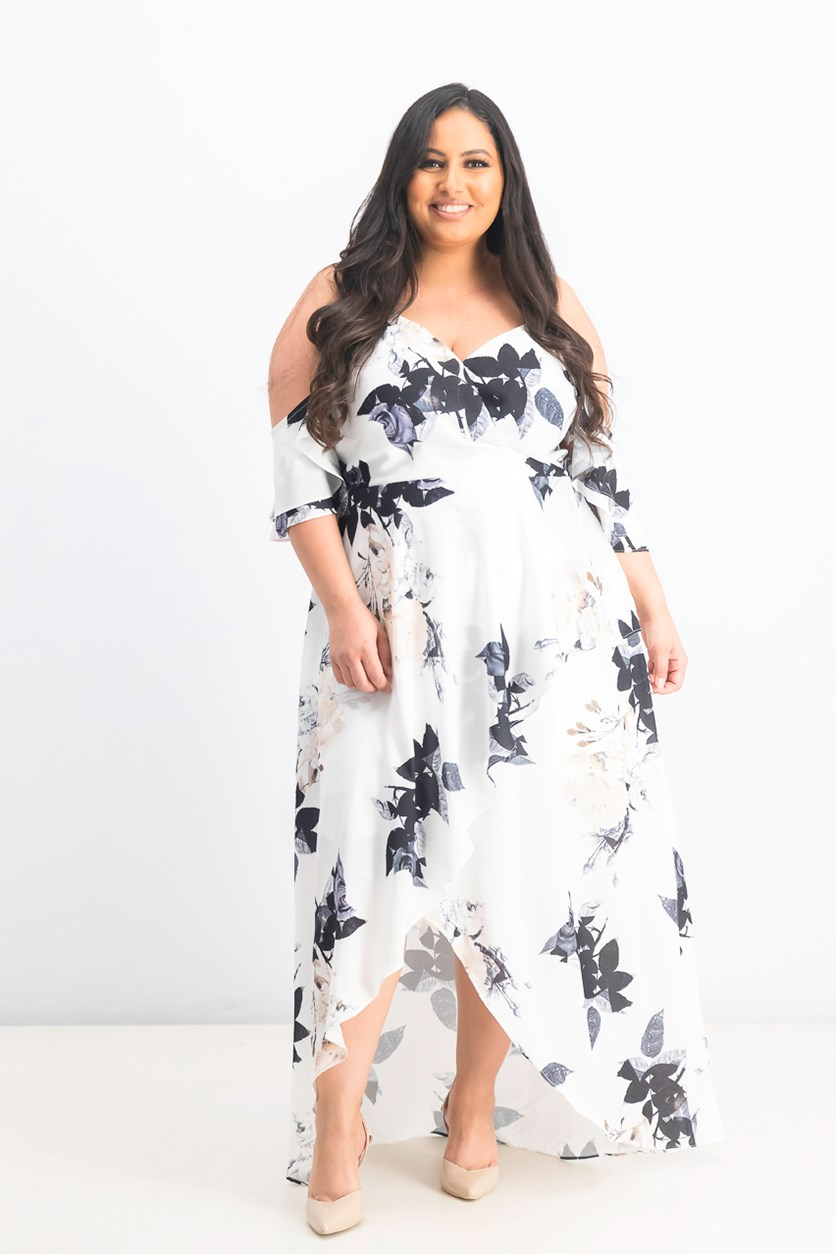 Women's Trendy Plus Size Cold-Shoulder High-Low Dress, Cream Floral