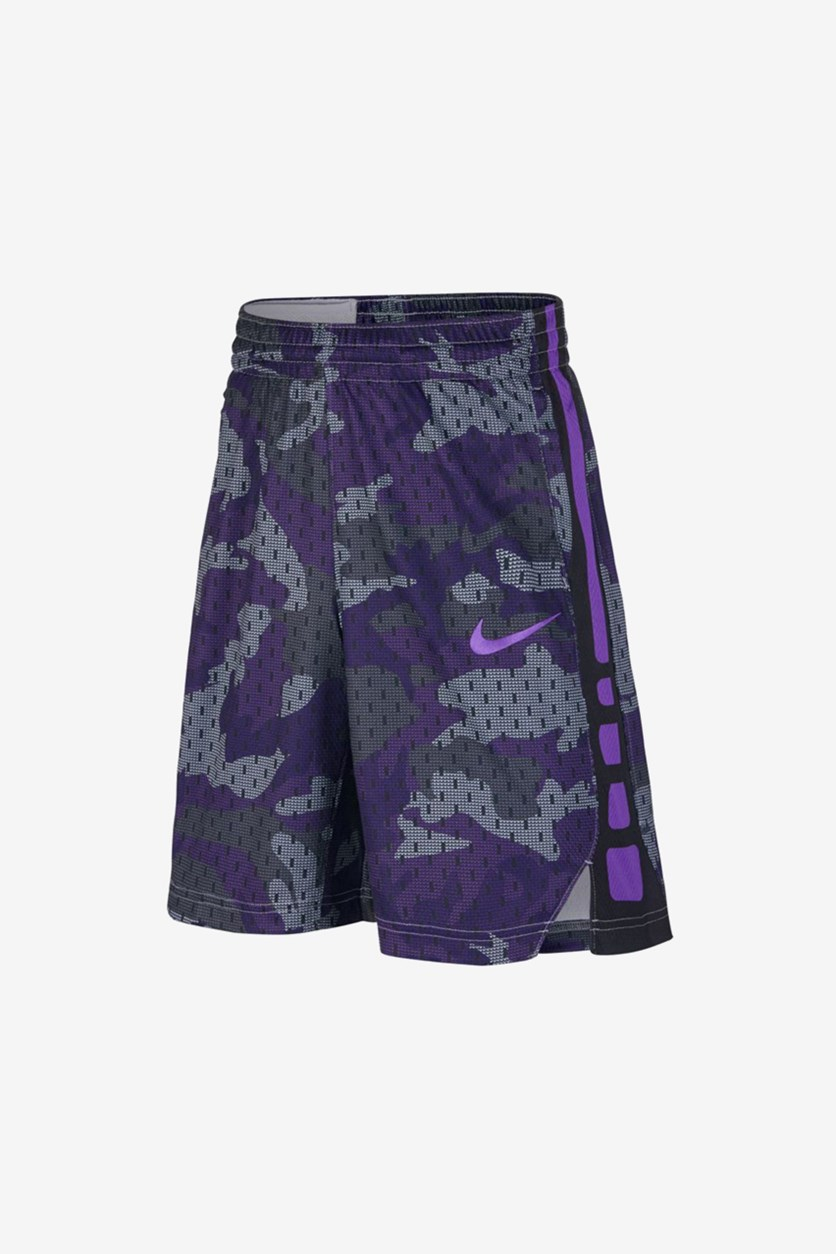 Boy's  Dry Elite Basketball Shorts, Black/Grey/Violet