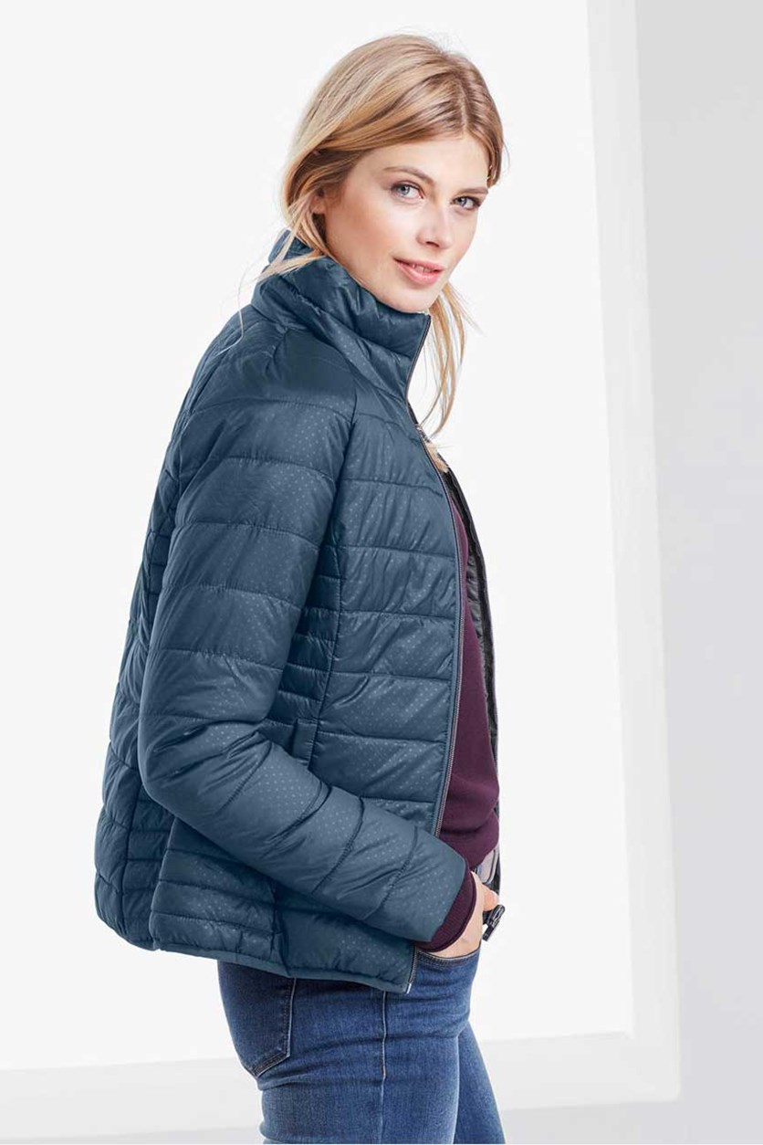 Women's Reversible Quilted Jacket, Navy Blue