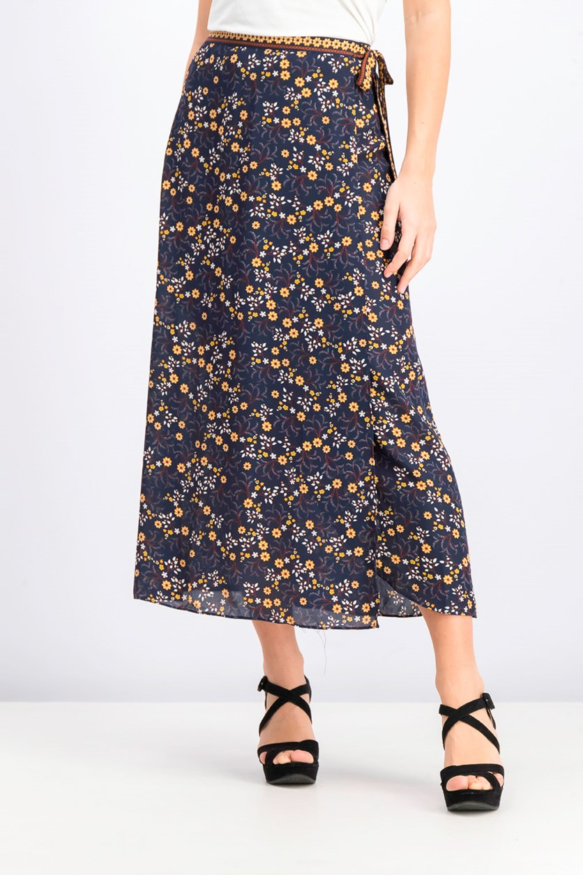 Women's Floral Print Skirt, Navy Blue Combo