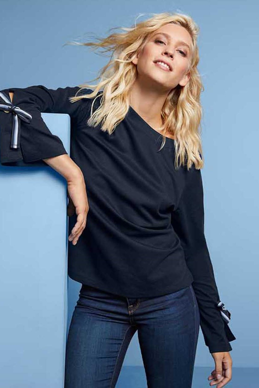 Women's Ruffled Sleeve Sweatshirt, Dark Blue