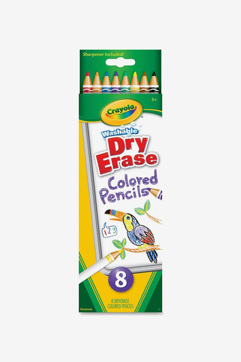 Washable Dry Erase Colored Pencils, Green/Yellow/White