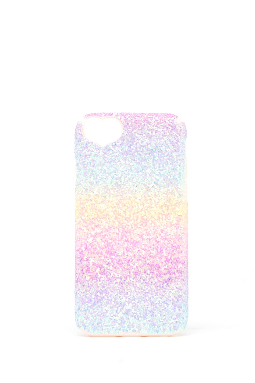 Shinny iPhone With Hearth Detail, Pink Combo