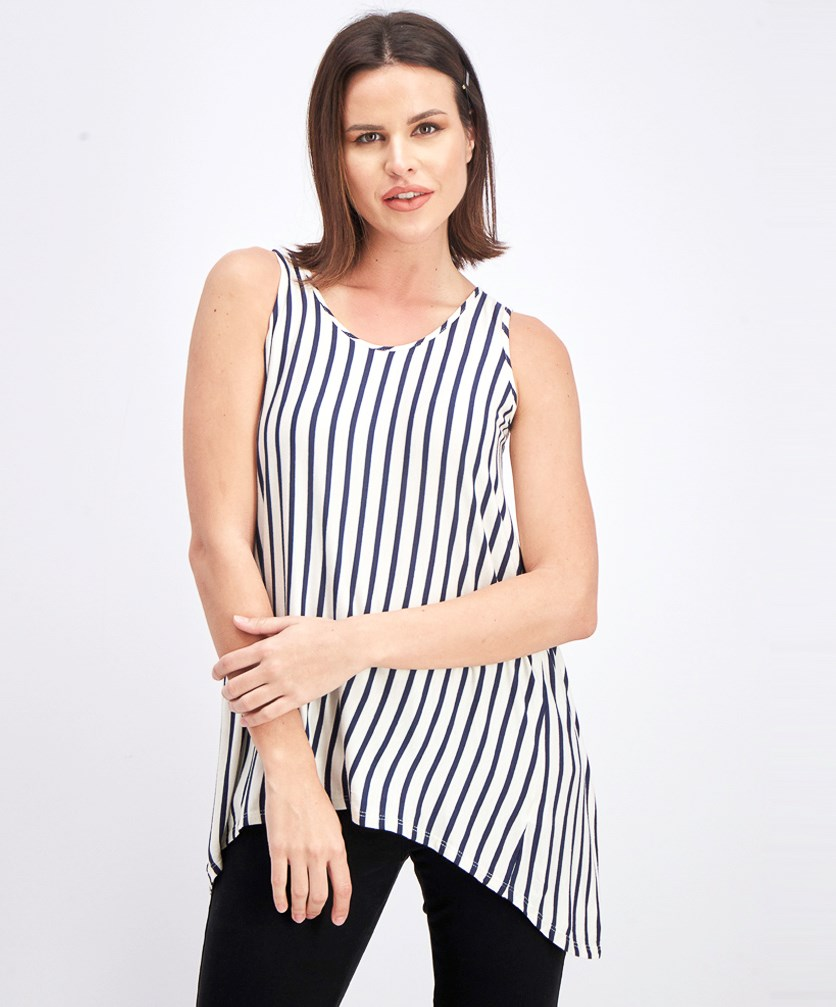 Women's Sleeveless Back Slit Top, Navy Blue/White