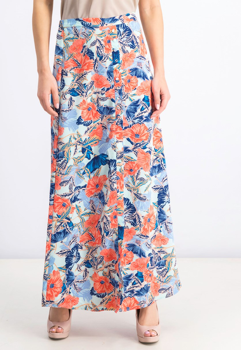 Women's Reed Button Front Maxi Skirt, Blue/Coral