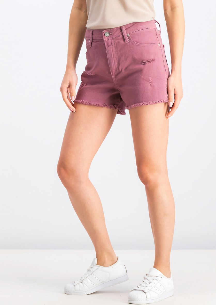 Women's Distressed Five-Pocket Plain  Shorts, Mauve