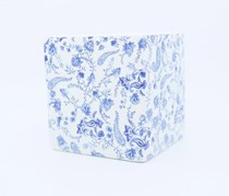 Ceramic Planter, White/Blue