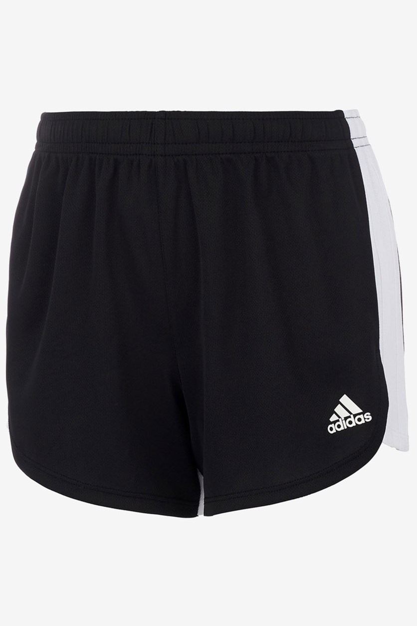 Girl's 3 Stripe Blocked Shorts, Black/White