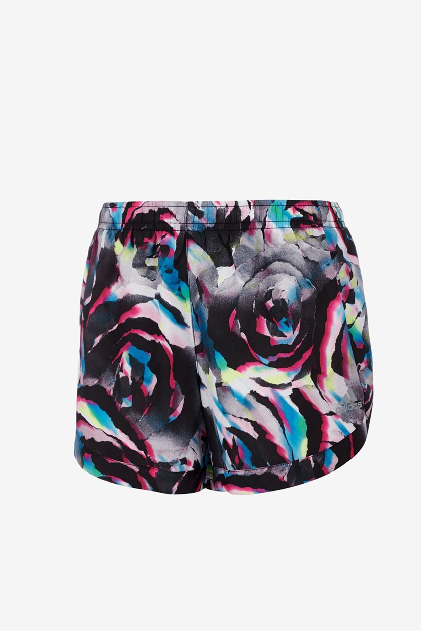 Little Girls Printed Training Shorts, Black/Pink