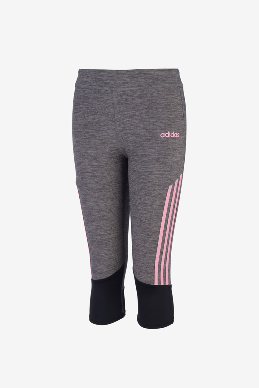 Toddlers Striped Capri Tights, Pink/Grey