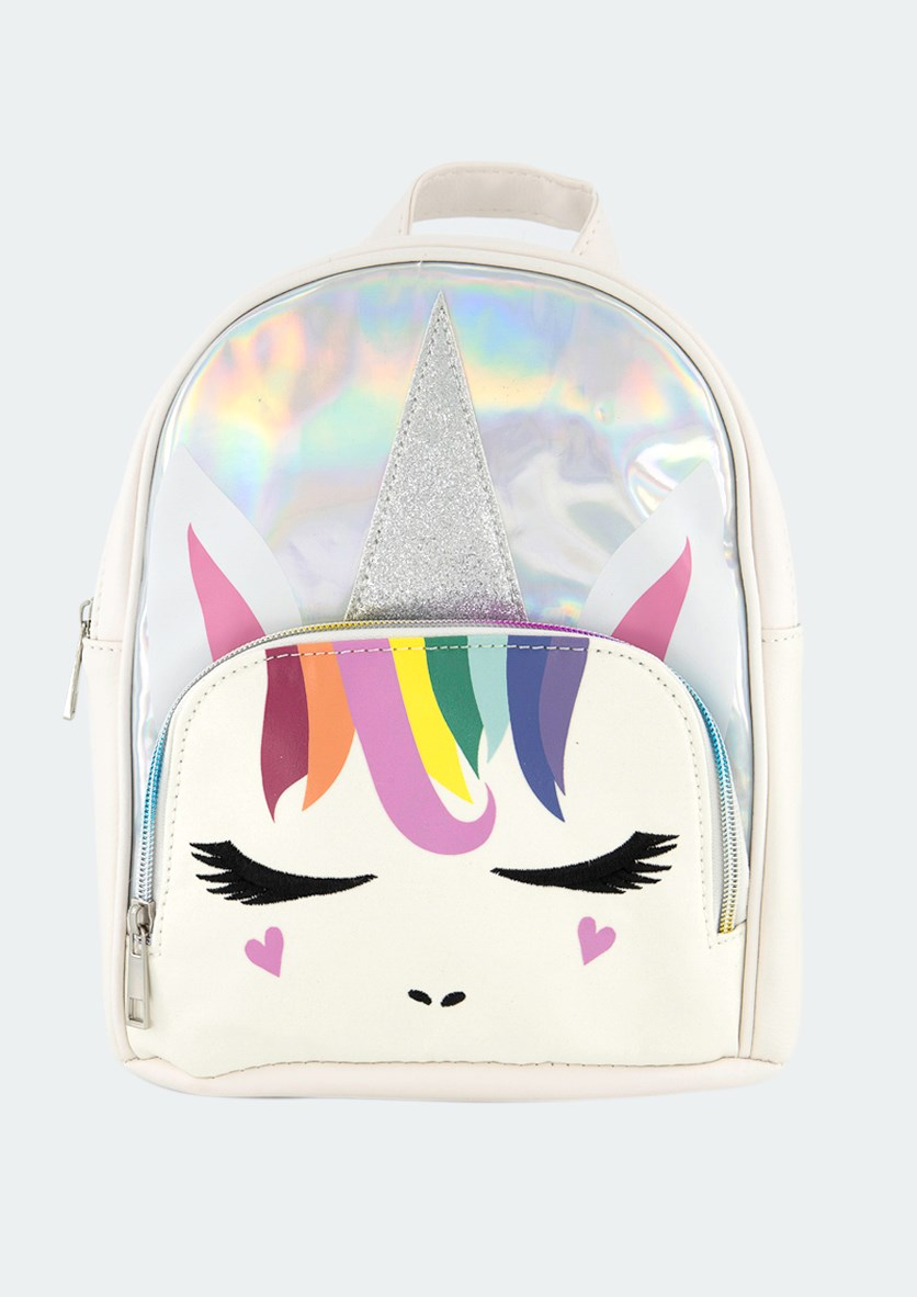 Kids Girls Rainbow Hair Unicorn Mini Backpack, White/Silver Combo