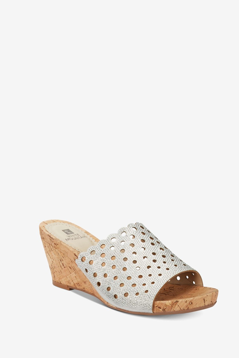 Atlie Embellished Wedge Sandals, Silver/Tan